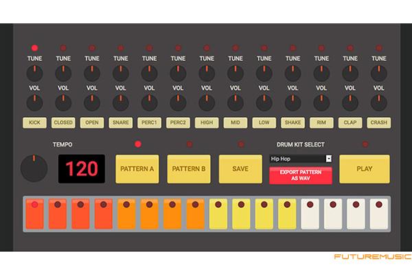 HTML5 drum machine emulator tr-909, tr-808