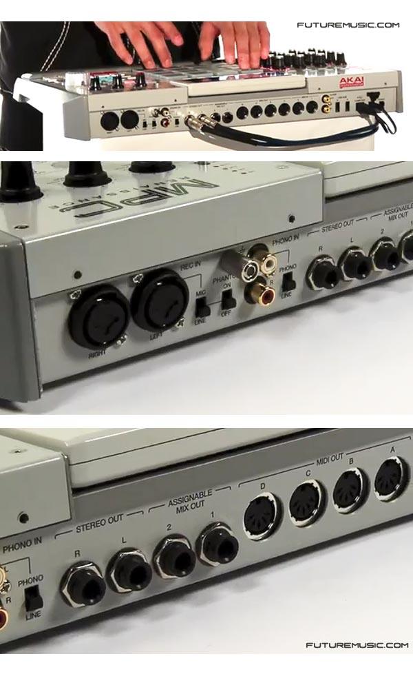 Akai MPC-Renaissance-Rear view Input/Output I/O