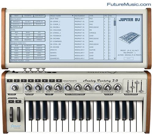 Arturia Analog Factory Experience Screen View