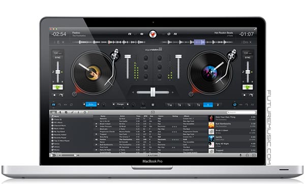 The interface of Algoriddim's djay for Mac on a MacBook Pro
