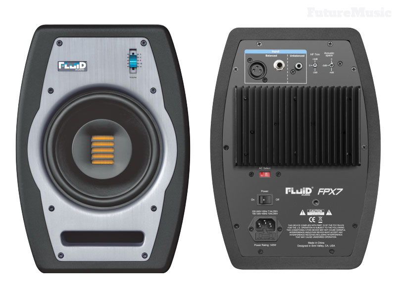 fluid audio FPX7 monitors-front and back views