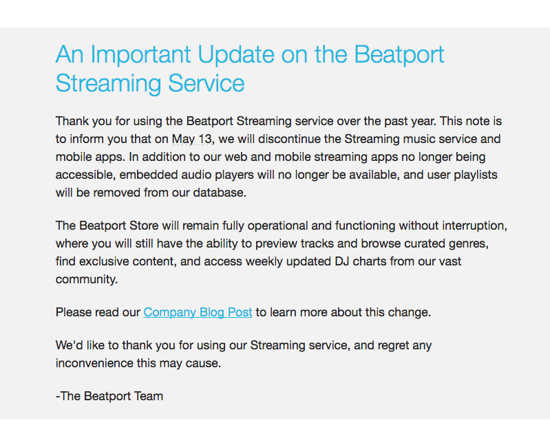 important update to beatport services
