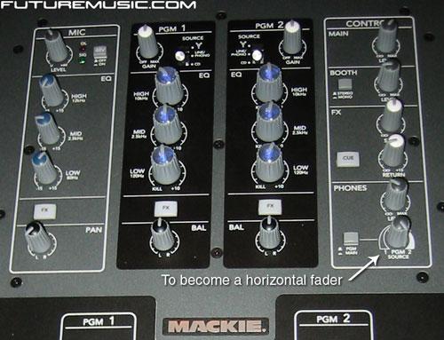Mackie D.2 DJ Mixer closeup