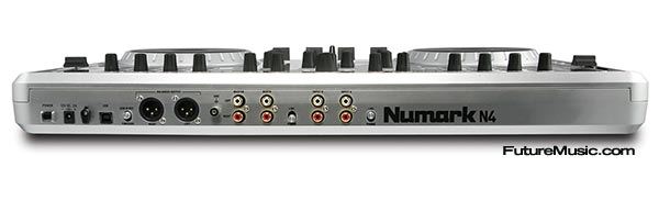 Numark N4 DJ MIDI controller audio interface back view