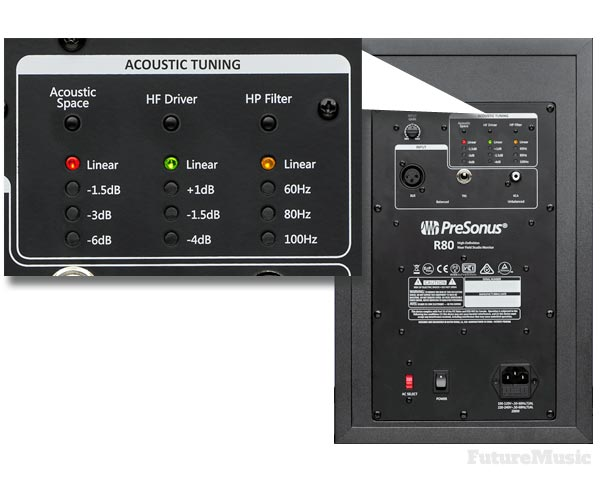 presonus r80 studio monitor back