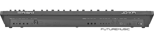 Rear of the roland jd-xa analog digital synthesizer