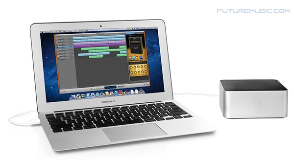 The BassJump is not small, which questions its portability, but perfectly complements the MacBook's aesthetics