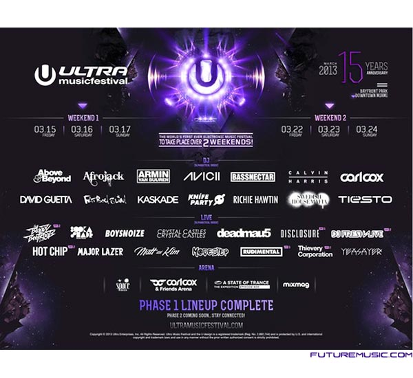 Ultra Music Festival Confirms Initial Lineup Of Acts
